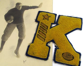 Vintage College Football Player Studio Photo & Vintage Chenille Varsity Letter K Fall Sports