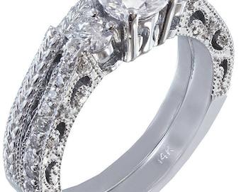 14k white gold round cut diamond engagement ring and band Wedding Bridal Anniversary Natural Diamonds 0.90ctw