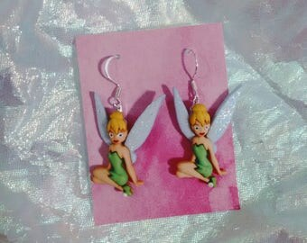 Earrings made with Tinkerbell figures fairies fairy brockus creations earrings