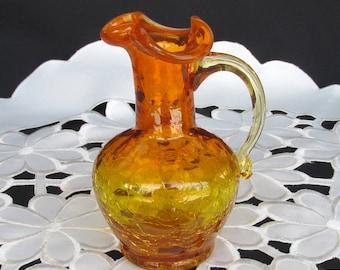 Vintage  Crackle Art Glass Pitcher Clear Crystal Handle