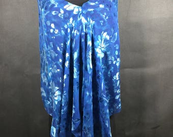 Blue Devore Satin Floral One Seam Shibori Poncho