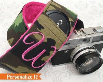Personalized DSLR Camera Strap, Extra Long, Lens Cap Pockets, Nikon, Canon, DSLR Photography, Photographer - Camo with Fucshia