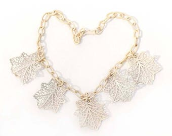 Creamy White Celluloid Lacy Leaf Vintage Necklace