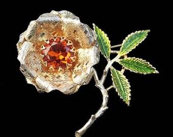 "20% OFF SALE - Large SARAH Coventry Rhinestone & Enamel Floral Brooch - ""Ember Flower"""