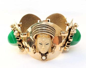 20% OFF SALE - Substantial Asian Princess and Faux Jade Link Bracelet - Unsigned Selro / Selini?
