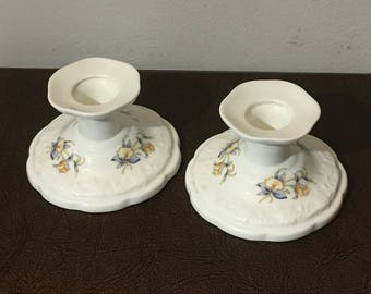 Pair of Aynsley Just Orchids Candlestick Holders