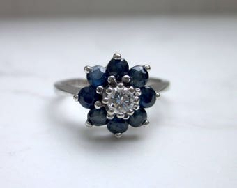 Vintage Blue Sapphire and Diamond Flower Halo Engagement Ring in 14k Solid White Gold , Size 6