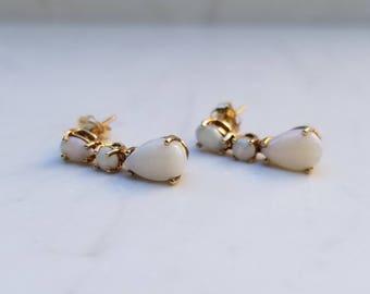 Vintage 14k Yellow Gold White Opal Pierced Drop Earrings