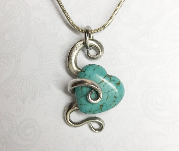 Cocktail Fork Necklace Pendant, Turquoise Magnesite Heart Stone, Fork Jewelry