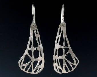 Sterling Silver Moth Wing Earrings