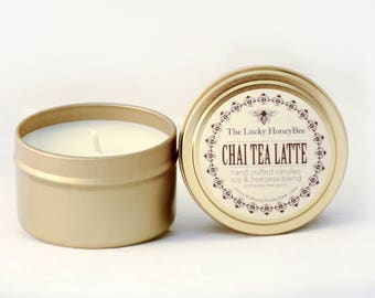 Chai Tea Latte || 6 oz Scented Candle || Soy + Beeswax Blend Candle in Gold Tin
