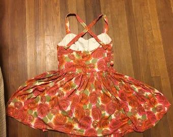 Cole of California Lane Bryant 50s 1950s plus size 2x 3x swim dress halter roses xxl