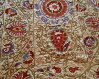 Uzbek hand embroidered silk on silk Suzani. Silk embroidered suzani. Bed cover suzani. Table, sofa cover suzani. Wall hanging suzani