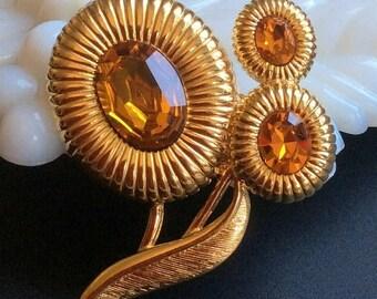 ANNIVERSARY SALE Monet Topaz Flower Brooch