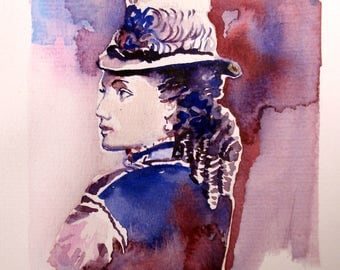 Original watercolor card. 19 the century fashion.