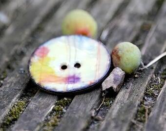 Ceramic style glazed coconut button 40 mm watercolour