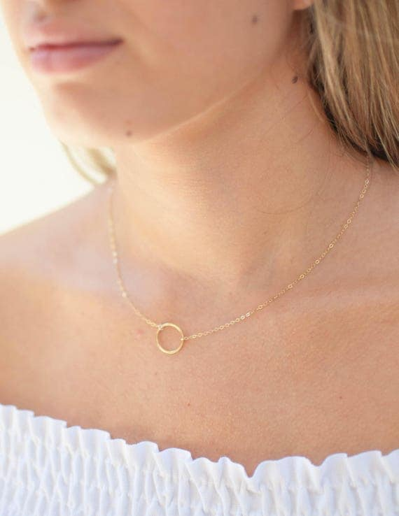Gold Circle Necklace | Eternity Necklace | Karma Necklace | Layering Necklace | Delicate Necklace | Dainty Necklace | Gift for Her