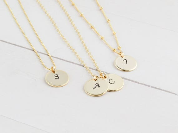 Hand Stamped Gold Initial Necklace |Gold Initial Necklace | Initial Necklace | Gold Monogram Necklace | Personalized Necklace