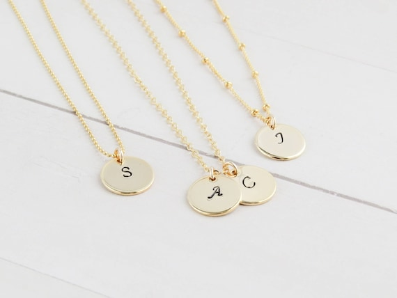 Hand Stamped Gold Initial Necklace | Gold Initial Necklace | Initial Necklace | Minimal Initial Necklace | Gift for her