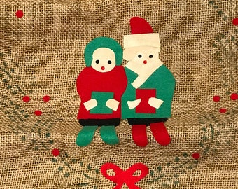 Two Vintage Burlap Toy Bags / Vintage Christmas Toy Bags / Burlap Christmas Bags