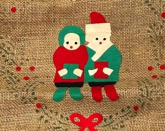 Two Vintage Burlap Toy Bags / Vintage Christmas Toy Bags / Burlap Christmas Bags