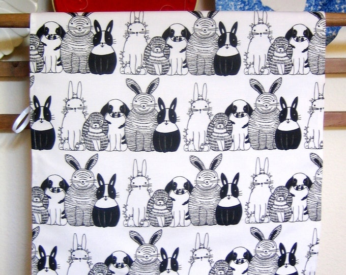 Bunnies in Rows Print Linen/Canvas Kitchen Towel