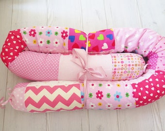 Baby Bumper , Quilted Crib Bumpers , Pink Baby bedding , Snake Pillow , Bumper Bed Pillow