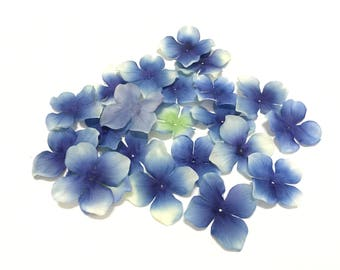 50 Artificial Hydrangea Blossoms Shades of Blue - Artificial Flowers, Silk Flowers, Hair Accessories, Flower Crown, Millinery, DIY Wedding