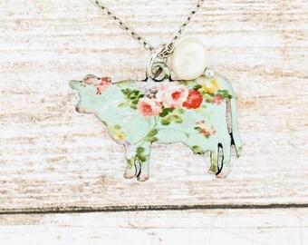 "Blue or Pink Floral Cow Necklace 18""/Earrings/Bracelet or Set"