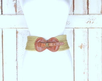Vintage wide tan/light brown thick woven braided chord belt/brown faux leather cotton rope chord belt