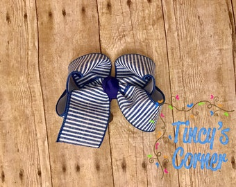 Striped Navy and White Hair Bow Large