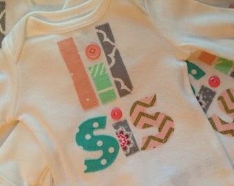Little Sister Onesie/Little Sister Bodysuit/SHIPS NEXT DAY/Pregnancy Announcment/Baby Shower Gift/New Baby Sister/Lil Sis Big Sis