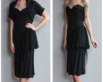 1950s Dress // Kindred Spirits Strapless Dress & Bolero // vintage 50s dress
