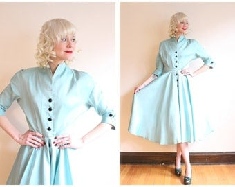 1950s Dress // Aquamarine Tobie Taffeta Dress // vintage 50s dress