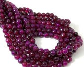 Agate Beads, Purple-Magenta, 6mm, Round, Faceted, Small, Fired Agate, Gemstone Beads, 14.5 Inch Strand - ID 1783