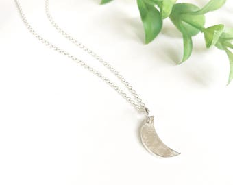 Crescent Moon Necklace, Silver Moon Pendant, Celestial Fine Silver, Small Moon Child, Galaxy Charm, Boho Festival Jewelry, Minimalist Gift