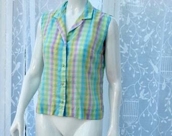 "1950s-60s Original Pastel Cotton Sleeveless Blouse sz"" 14UK  Rockabilly"