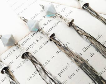 Silver Chain Tassel with Crystal Bicone