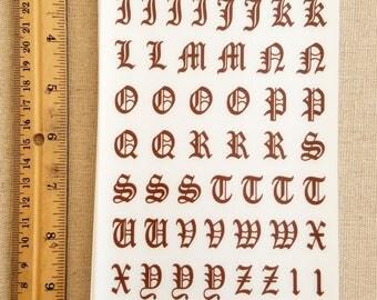 Fancy Brown Rub on Letters
