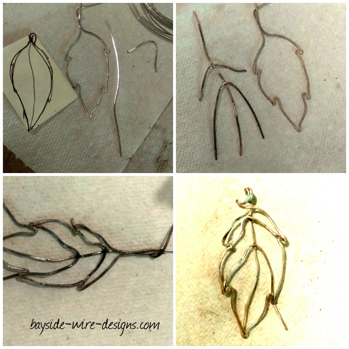 wire leaf construction from sterling silver