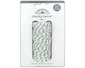 GREY Chunky Baker's Twine - Cotton Twine - 20 yards - Favor Packaging - Doodlebug - Invitation supply