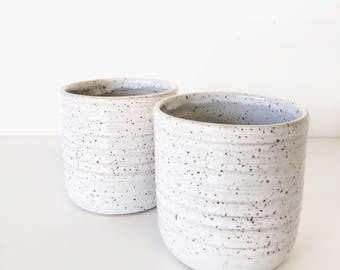 tumblers cup mug ceramic in speckled white and deep gray and tan clay ONE mug