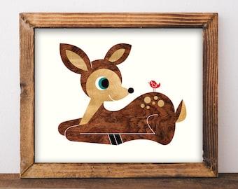 Deer Art Print 8x10, Baby Deer Animal Nursery Wall Art, Woodland Animal Art Print, Deer Kids Room Decor