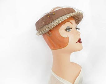 1950s brown hat, straw with feather, vintage 50s