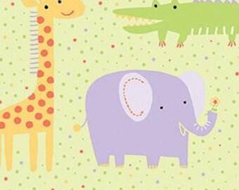 "Muslin-45""- Animal Print Elephant, Green"