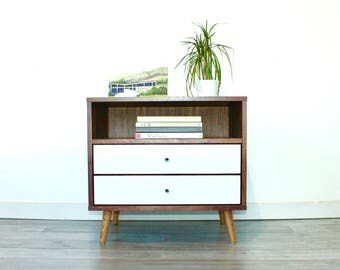Mid Century Bedside Table with Two Drawers Night stand Side Table Modern Storage
