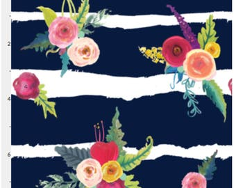 Sketchy Navy Blue and White Painted Stripe + Painted Flower Fabric, Colorful Painted Floral Modern Apparel Home Decor Fabric By The Yard