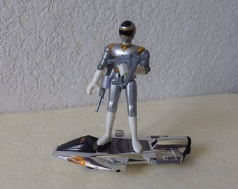 Power Rangers in Space, Silver Galaxy Glider w/Silver Ranger, 1997. Complete, Like New. Bandai