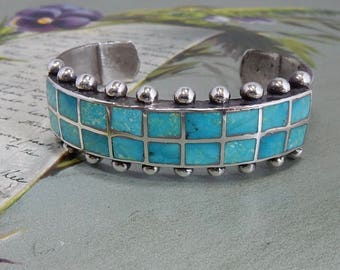 Vintage Inlaid Silver Bracelet Mexico    OBR4