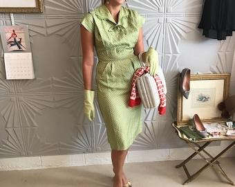 1950's pale green silk polka dot wiggle dress by Franklin
